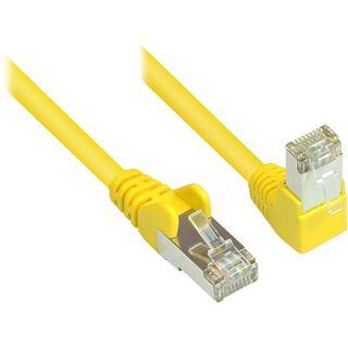 (€0,99*/1m) 10.00m Good Connections Cat. 6 Patchkabel S/FTP PiMF 250MHz RJ45 Stecker auf RJ45 Stecker gewinkelt Gelb AWG27 / Kupfer / Rastnasenschutz