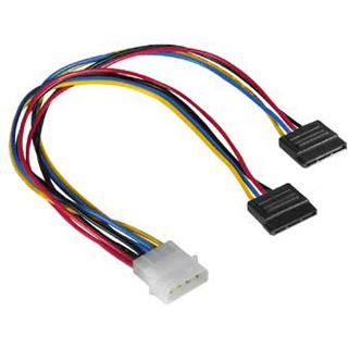 (€31,60*/1m) 0.25m Hama SATA Y-Stromadapterkabel Molex-Stecker auf 2xSATA Strom Stecker Schwarz