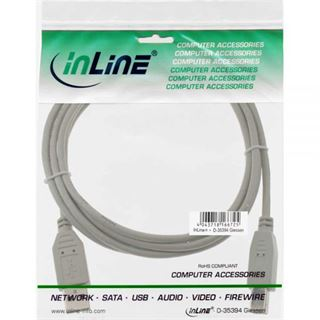 (€3,90*/1m) 1.00m InLine USB2.0 Anschlusskabel USB A Stecker auf USB B Buchse Grau