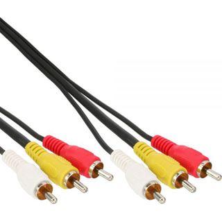 (€0,98*/1m) 5.00m InLine Audio/Video Anschlusskabel 3xCinch Stecker auf 3xCinch Stecker Schwarz