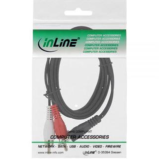 (€0,46*/1m) 15.00m InLine Audio Adapterkabel 3.5mm Klinke Stecker Stereo auf 2xCinch Buchse Schwarz