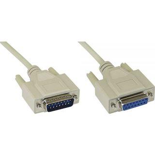 (€4,45*/1m) 2.00m InLine Audio Anschlusskabel UL2464 15pol Buchse auf 15pol Stecker beige