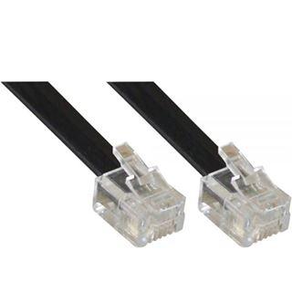 (€0,49*/1m) 10.00m InLine Telefon Anschlusskabel RJ11 Stecker auf RJ11 Stecker Schwarz