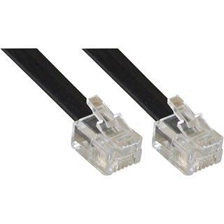 (€0,78*/1m) 5.00m InLine ISDN Anschlusskabel RJ12 Stecker auf RJ12 Stecker Schwarz
