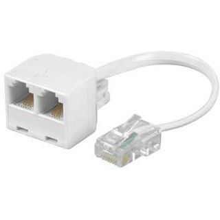 0.10m Hama ISDN Adapterkabel 8p4c RJ45 Stecker auf 2xRJ45 Buchse Weiß