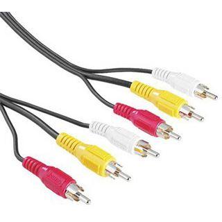 10.00m Hama Audio/Video Verlängerungskabel 3xCinch Stecker auf 3xCinch Stecker Schwarz