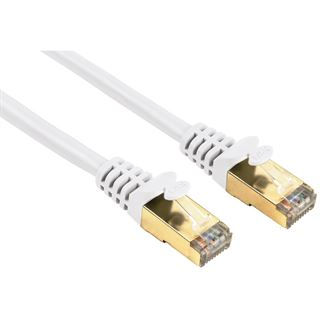 (€1,58*/1m) 5.00m Hama Cat. 5e Patchkabel S/UTP RJ45 Stecker auf RJ45 Stecker Weiß vergoldet