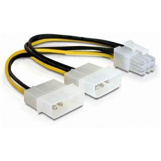 (€26,00*/1m) 0.15m Delock PCI Express Stromadapterkabel 2x Molex Stecker auf 6pol PCIe Stecker Schwarz/Gelb