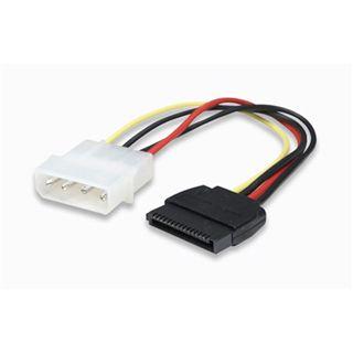 (€26,00*/1m) 0.15m Manhattan SATA Adapterkabel Molex-Stecker auf SATA Strom Stecker Schwarz/Rot/Gelb