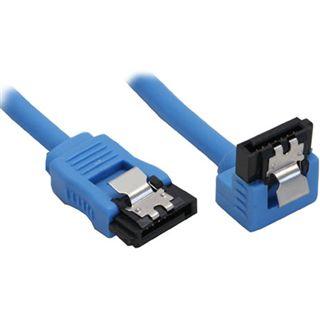 (€9,80*/1m) 0.50m InLine SATA 6Gb/s Anschlusskabel gewinkelt links SATA Stecker auf SATA Stecker Blau mit Arretierung