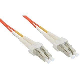 (€0,86*/1m) 15.00m InLine LWL Duplex Patchkabel 50/125 µm OM2 LC Stecker auf LC Stecker Orange