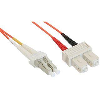 (€8,90*/1m) 1.00m InLine LWL Duplex Patchkabel 50/125 µm OM2 LC Stecker auf SC Stecker Orange