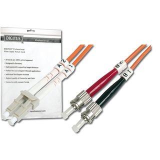 (€4,45*/1m) 2.00m Digitus LWL Duplex Patchkabel 62,5/125 µm OM1 LC Stecker auf ST Stecker Orange halogenfrei / LSOH