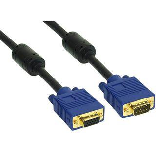 (€15,80*/1m) 0.50m InLine S-VGA Verlängerungskabel VGA 15pol Buchse auf VGA 15pol Stecker Schwarz blauer Stecker / Ferritkern
