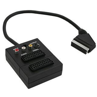 (€34,50*/1m) 0.20m InLine SCART Adapterkabel Scart Stecker auf Scart Buchse + 3xCinch Buchse Schwarz