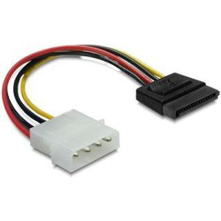 (€39,00*/1m) 0.10m Delock Stromkabel Stromadapter 4pol Stecker auf SATA Stecker Schwarz/Rot/Gelb
