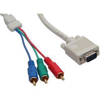 (€3,95*/1m) 2.00m InLine VGA Adapterkabel doppelt geschirmt VGA 15pol Buchse auf 3xCinch Buchse beige blauer Stecker / Ferritkern