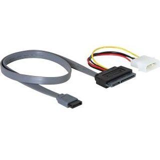 """(€12,25*/1m) 0.40m Delock SATA Anschlusskabel SATA Stecker + 5,25"""" Molex Strom Stecker auf SATA Stecker 22pol Rot"""