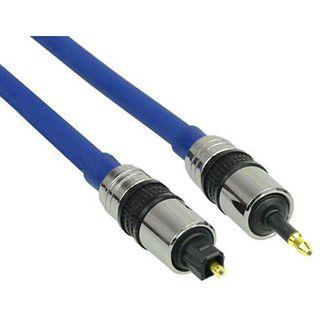 (€1,19*/1m) 10.00m InLine Toslink Adapterkabel Premium-Line 3.5mm Klinken-Stecker auf Toslink Blau