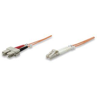 (€7,90*/1m) 1.00m Intellinet LWL Duplex Patchkabel 50/125 µm OM2 LC Stecker auf SC Stecker Orange
