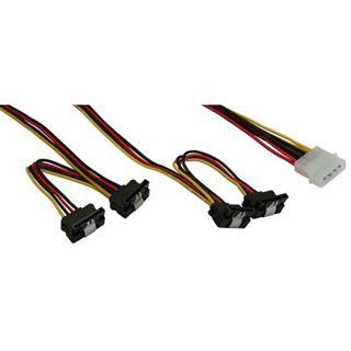 (€15,80*/1m) 0.50m InLine SATA Adapterkabel Molex-Stecker auf 4xSATA Strom Stecker Schwarz
