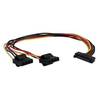 (€23,00*/1m) 0.30m InLine SATA Y-Stromadapterkabel SATA Strom Buchse auf 2xMolex Stecker Schwarz/Rot/Gelb