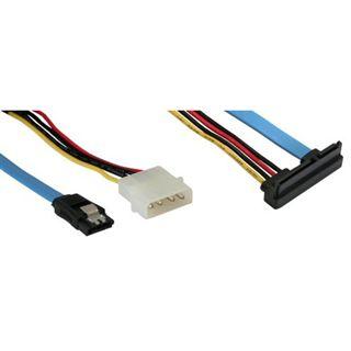 """(€15,80*/1m) 0.50m InLine SATA Anschlusskabel SATA Stecker + 5,25"""" Molex Strom Stecker auf SATA Stecker 22pol Blau"""