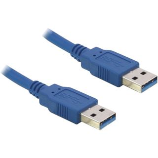 (€6,90*/1m) 1.00m Delock USB3.0 Anschlusskabel doppelt geschirmt USB A Stecker auf USB A Stecker Blau