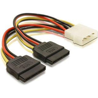 (€24,38*/1m) 0.16m Delock SATA Y-Stromadapterkabel Molex-Stecker auf 2xSATA Strom Stecker Schwarz