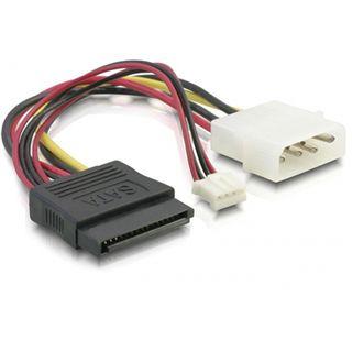 (€32,67*/1m) 0.15m Delock SATA Adapterkabel Molex-Stecker auf SATA Strom Stecker + 4pin Stecker Schwarz