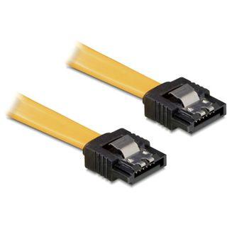 (€7,80*/1m) 0.50m Delock SAS 3Gb/s Anschlusskabel SATA Stecker auf SATA Stecker Gelb Metall
