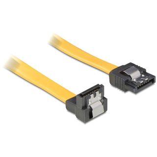 (€39,00*/1m) 0.10m Delock SATA 3Gb/s Anschlusskabel gewinkelt links SATA Stecker auf SATA Stecker Gelb Metal