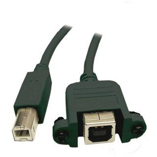 1.00m Good Connections USB2.0 Verlängerungskabel USB B Stecker auf USB B Buchse Schwarz Einbaubuchse