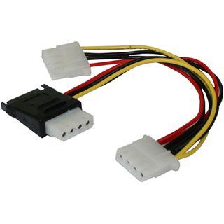 0.20m Good Connections SATA Stromadapterkabel intern 15pol Stecker + 4pol Buchse auf 2x4pol Buchse Schwarz/Rot/Gelb