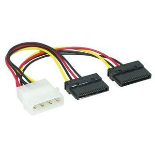 0.20m Good Connections SATA Stromadapterkabel intern 4pol Stecker auf 2x15pol Stecker Schwarz/Rot/Gelb