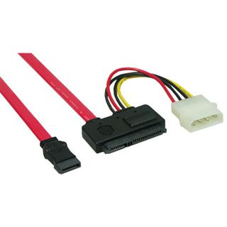0.50m Good Connections SATA 3Gb/s Anschlusskabel All-in-One SATA Stecker auf All-in-One Stecker + 4pol Power Rot