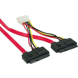 0.50m Good Connections SATA 3Gb/s Anschlusskabel All-in-One 2xSATA Stecker auf 2xAll-in-One Stecker + 4pol Power Rot