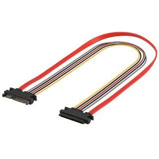 0.50m Good Connections SATA 3Gb/s Verlängerungskabel All-in-One 7+6pol Buchse auf 7+6pol Stecker Rot