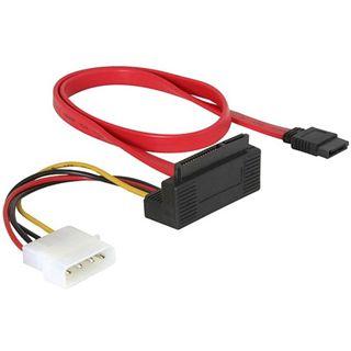 0.50m Good Connections SATA 3Gb/s Anschlusskabel SATA Stecker auf All-in-One Stecker + 4pol Power Rot gewinkelt unten