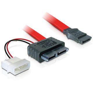 0.30m Good Connections SATA 3Gb/s Anschlusskabel Slimline 7+6pol Stecker auf All-in-One Stecker + 2pol Power Rot