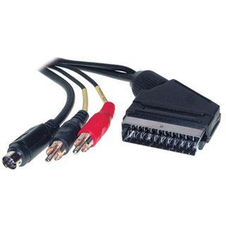 1.50m Good Connections SCART Anschlusskabel 20pol Stecker auf S-Video Stecker + 2xCinch Stecker Schwarz