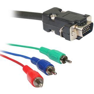 2.00m Good Connections YUV Anschlusskabel 3xCinch Stecker auf VGA 15pol Stecker Schwarz