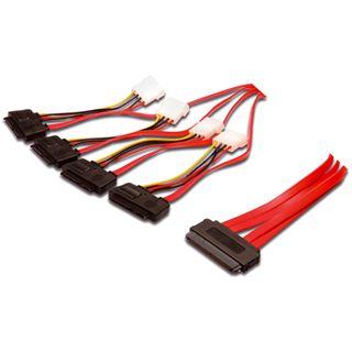 """0.50m Good Connections SAS 3Gb/s Anschlusskabel SFF-8484 Stecker auf 4xSFF-8482 + 5,25"""" Molex Strom Stecker Rot"""