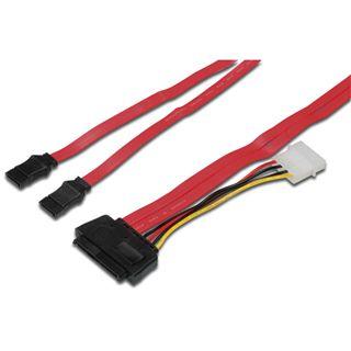 """0.50m Good Connections SAS 3Gb/s Anschlusskabel SFF-8484 Stecker auf 2xSATA Stecker + 5,25"""" Molex Strom Stecker Rot"""