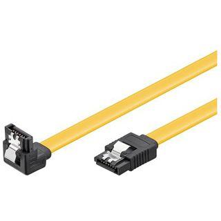 (€7,80*/1m) 0.50m Good Connections SATA 6Gb/s Anschlusskabel SATA Stecker auf SATA Stecker Gelb gewinkelt unten/mit Arretierung