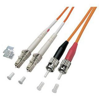 20.00m Good Connections LWL Duplex Anschlusskabel 50/125 µm OM2 LC Stecker auf ST Stecker Orange