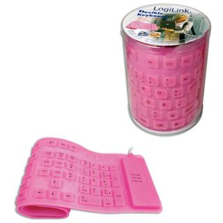LogiLink Flexible Waterproof Keyboard PS/2 & USB Deutsch pink (kabelgebunden)