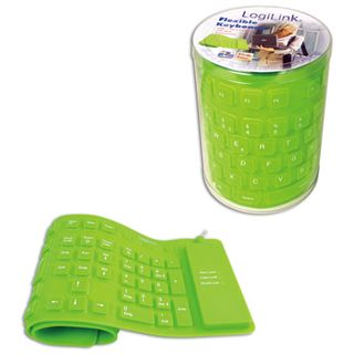 LogiLink Flexible Waterproof Keyboard PS/2 & USB Deutsch gruen (kabelgebunden)