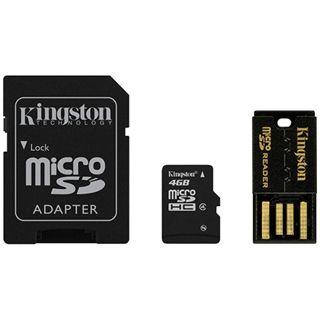4 GB Kingston Multi Kit G2 microSDHC Class 4 Retail inkl. Adapter