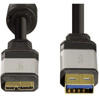1.80m Hama USB3.0 Anschlusskabel USB A Stecker auf USB mikroB Stecker 24K-vergoldet